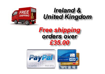 Free shipping to Ireland and UK orders over £35.00